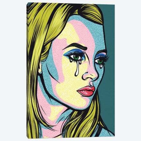 Kate Crying Comic Girl Canvas Print #AGU34} by Allyson Gutchell Art Print