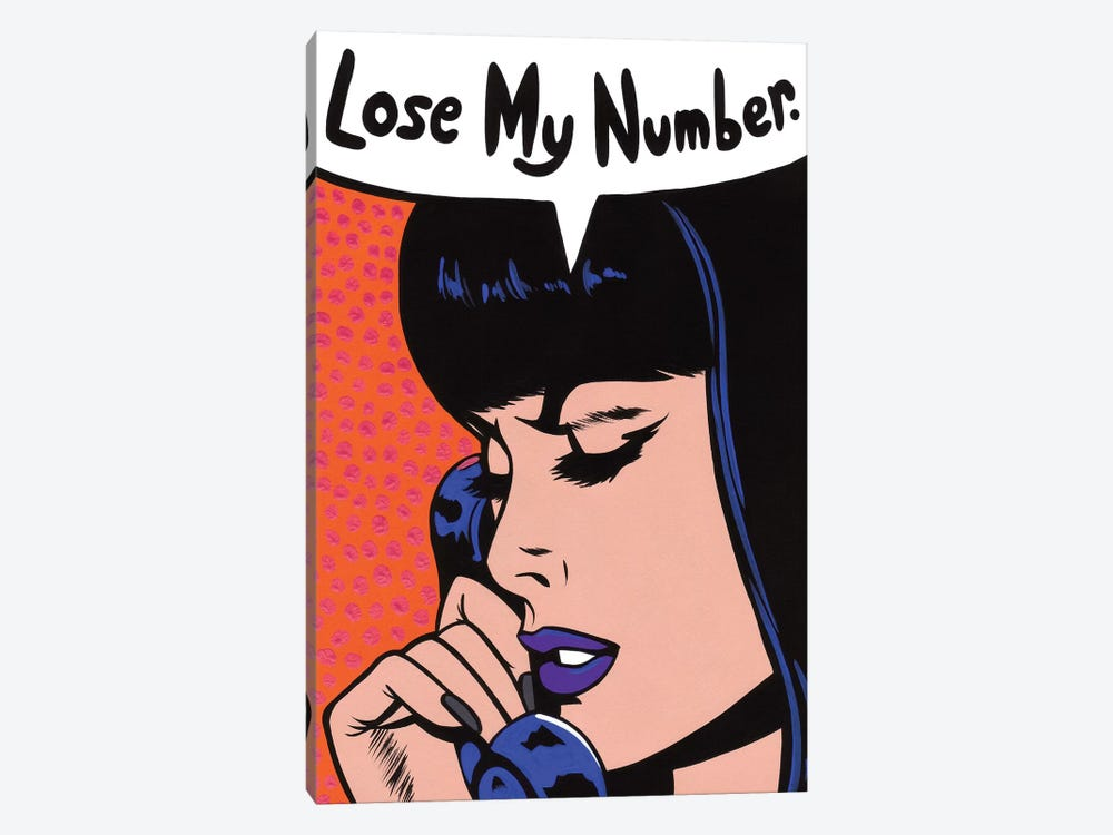 Lose My Number Comic Girl by Allyson Gutchell 1-piece Canvas Art Print