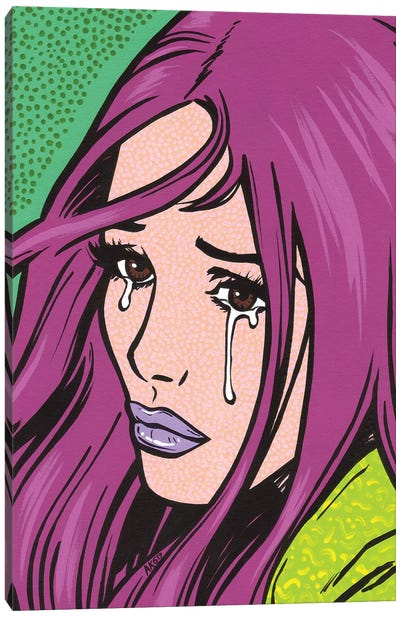 Magenta Crying Girl Canvas Art Print