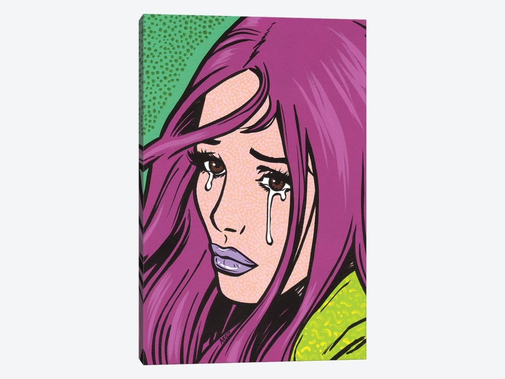 Magenta Crying Girl by Allyson Gutchell 1-piece Canvas Artwork