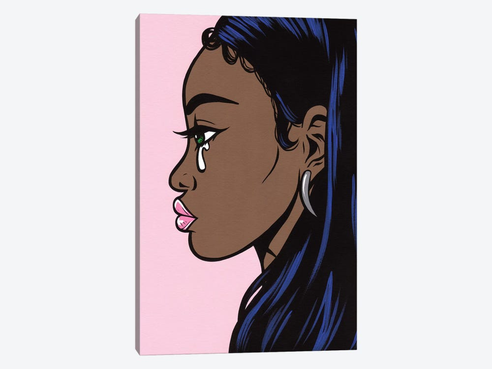Pastel Crying Girl On Pink by Allyson Gutchell 1-piece Canvas Wall Art