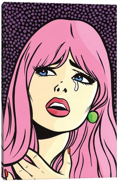Pink Hair Crying Comic Girl Canvas Art Print