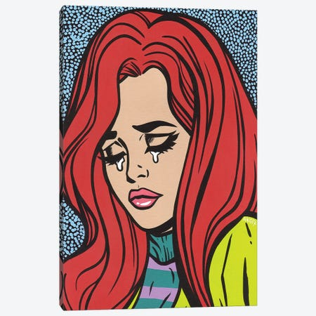 Red Head Crying Girl Canvas Print #AGU60} by Allyson Gutchell Art Print
