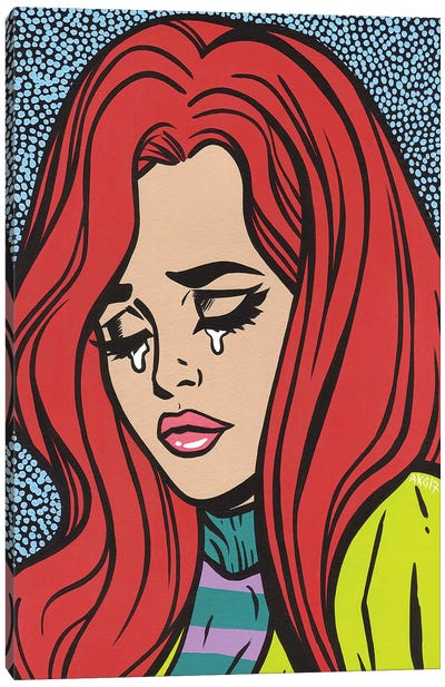 Red Head Crying Girl Canvas Art Print