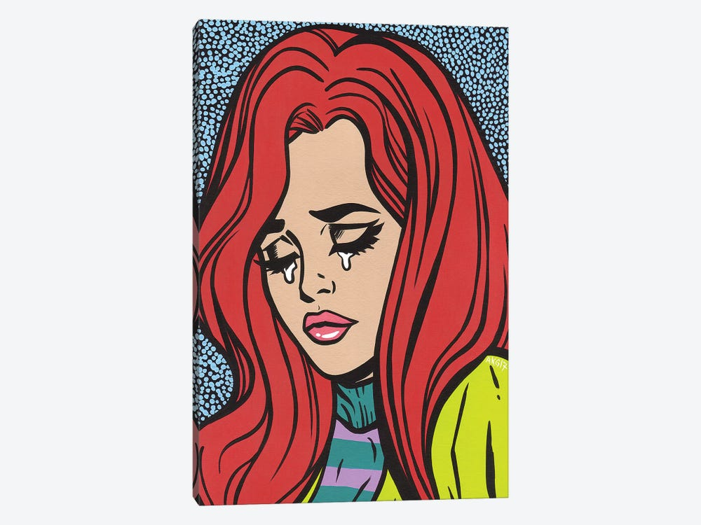 Red Head Crying Girl by Allyson Gutchell 1-piece Canvas Print