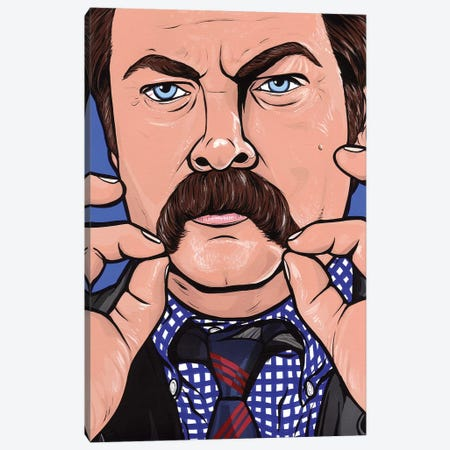 Ron Swanson Canvas Print #AGU61} by Allyson Gutchell Art Print