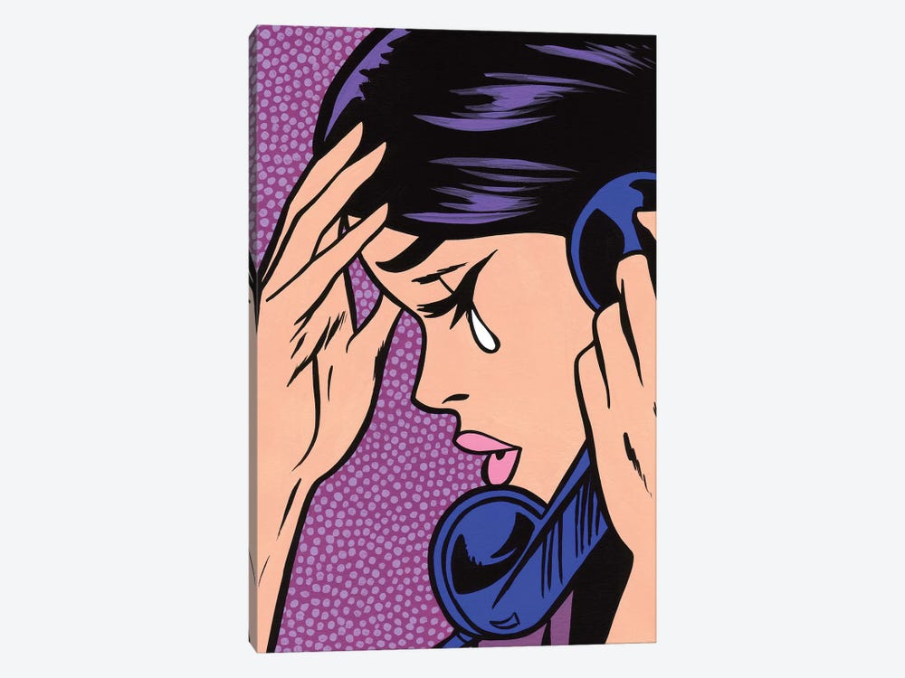 Telephone Crying Girl by Allyson Gutchell 1-piece Canvas Wall Art