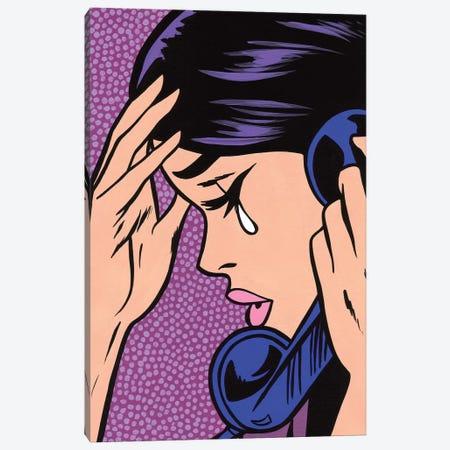 Telephone Crying Girl Canvas Print #AGU70} by Allyson Gutchell Canvas Wall Art