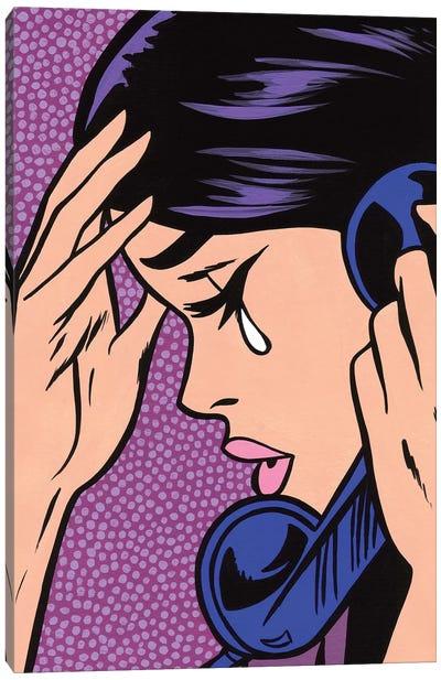 Telephone Crying Girl Canvas Art Print