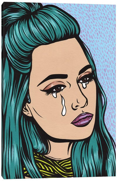 Turquoise Crying Girl Canvas Art Print