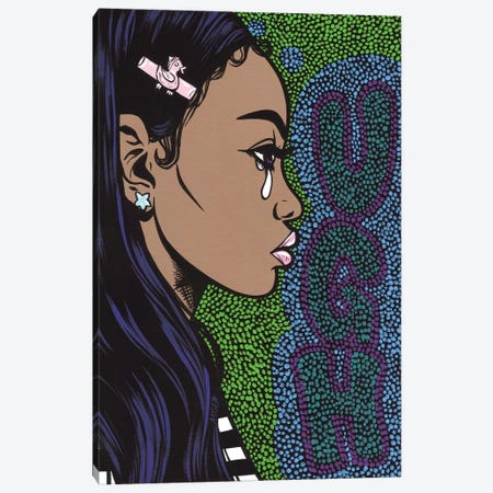 Ugh Crying Girl 3-Piece Canvas #AGU77} by Allyson Gutchell Canvas Art Print