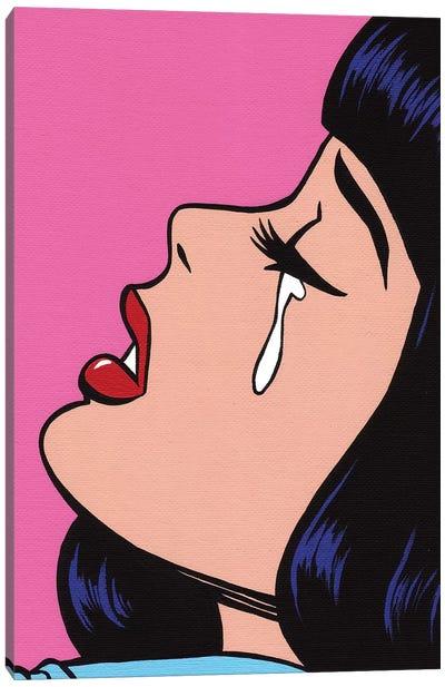 Black Bangs Crying Girl Canvas Art Print