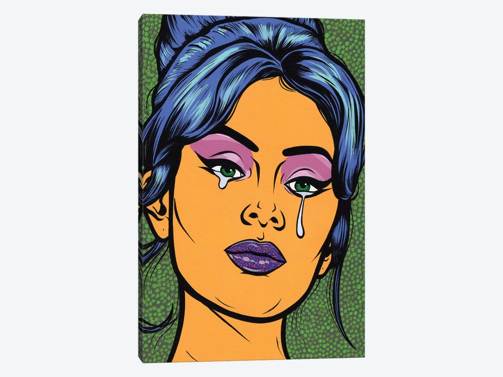Blue Beehive Crying Comic Girl by Allyson Gutchell 1-piece Canvas Artwork