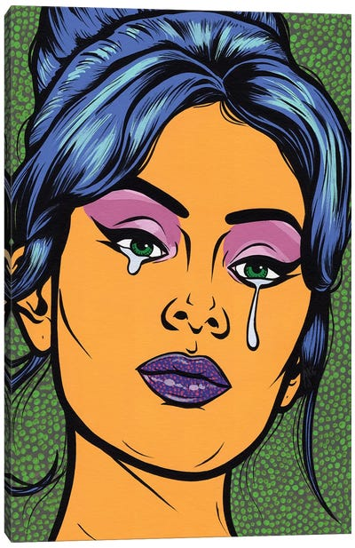 Blue Beehive Crying Comic Girl Canvas Art Print