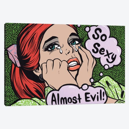 So Sexy Almost Evil Crying Comic Girl Canvas Print #AGU85} by Allyson Gutchell Canvas Art
