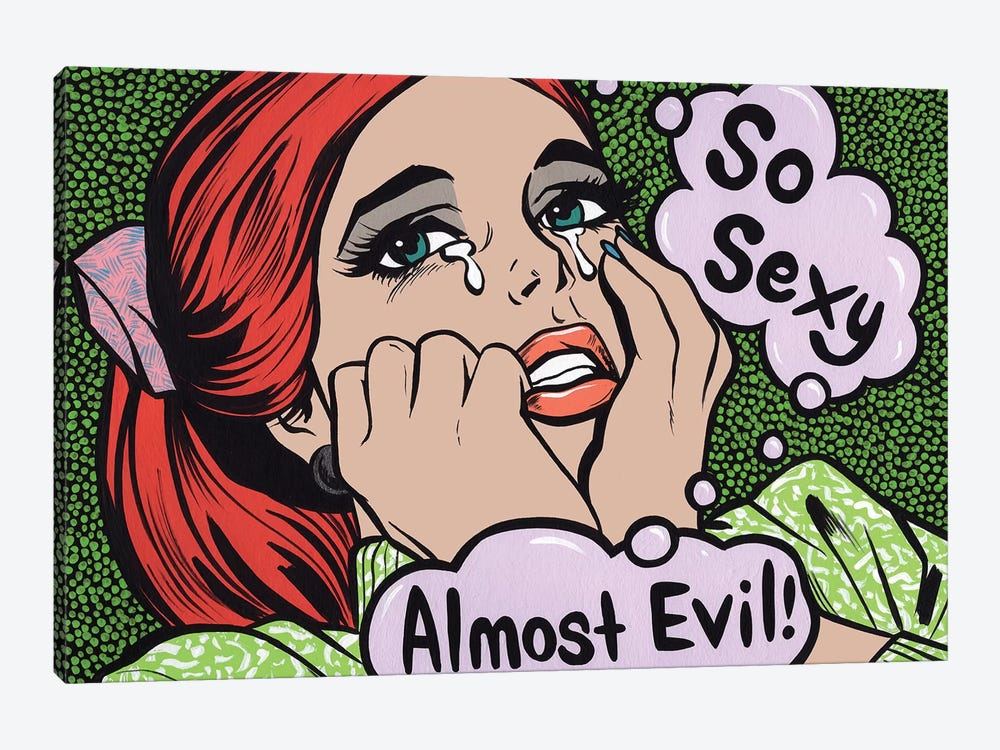 So Sexy Almost Evil Crying Comic Girl by Allyson Gutchell 1-piece Canvas Artwork