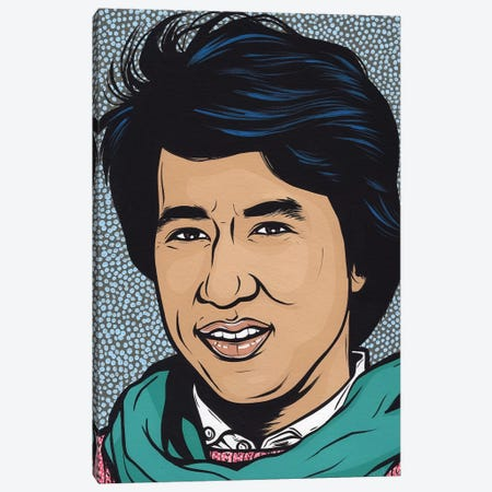 Young Jackie Chan Canvas Print #AGU86} by Allyson Gutchell Canvas Art