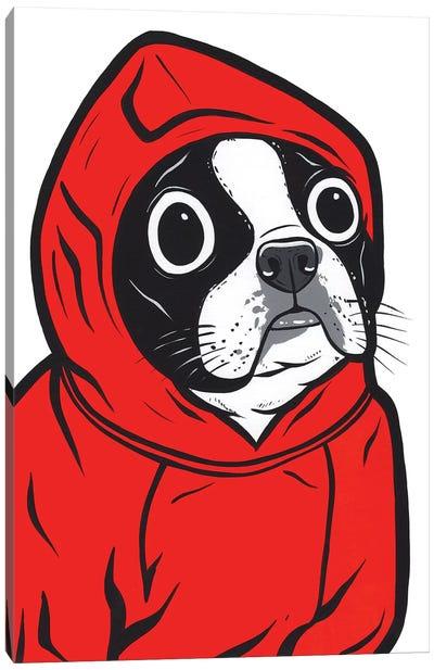 Boston Terrier Hoodie Canvas Art Print