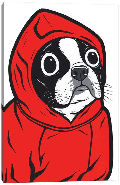 Boston Terrier Hoodie Canvas Art Print
