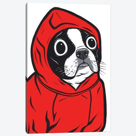 Boston Terrier Hoodie Canvas Print #AGU87} by Allyson Gutchell Canvas Artwork