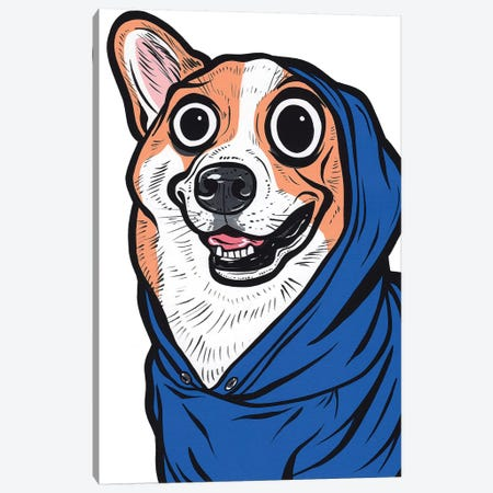Corgi Hoodie Canvas Print #AGU89} by Allyson Gutchell Art Print