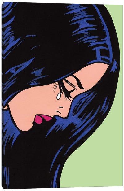 Black Hair Crying Girl Canvas Art Print