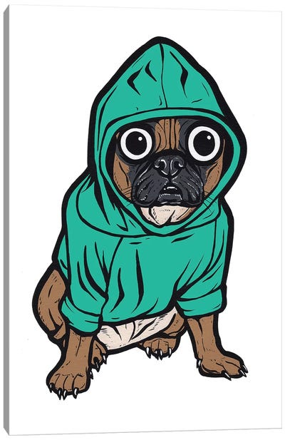 French Bulldog Hoodie Canvas Art Print