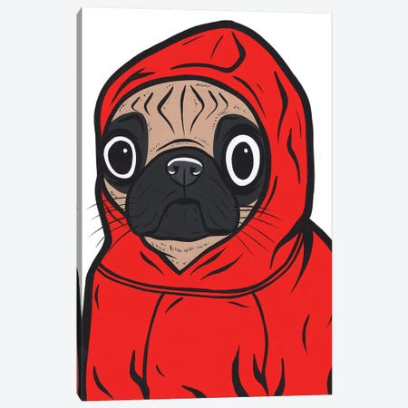 Pug Hoodie Canvas Print #AGU91} by Allyson Gutchell Canvas Wall Art