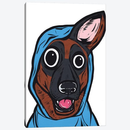 German Shepherd Hoodie Canvas Print #AGU95} by Allyson Gutchell Art Print