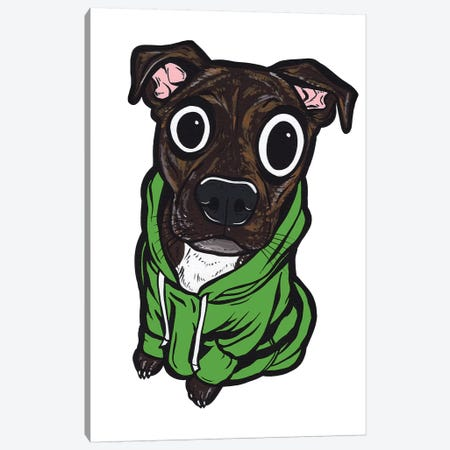 Pitbull Hoodie Canvas Print #AGU96} by Allyson Gutchell Art Print