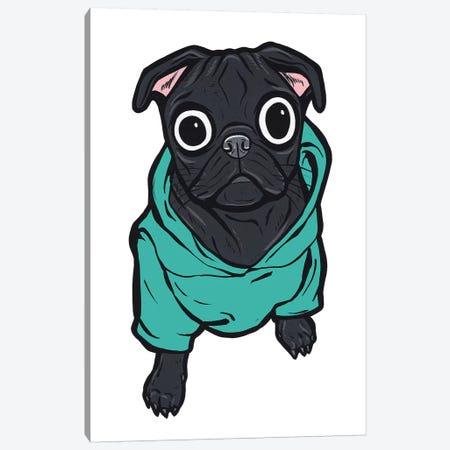 Pug Hoodie Canvas Print #AGU97} by Allyson Gutchell Canvas Print