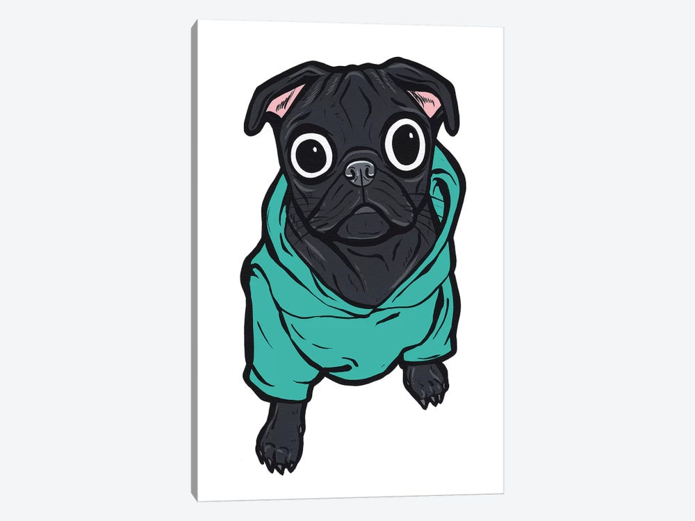 Pug Hoodie by Allyson Gutchell 1-piece Canvas Art Print