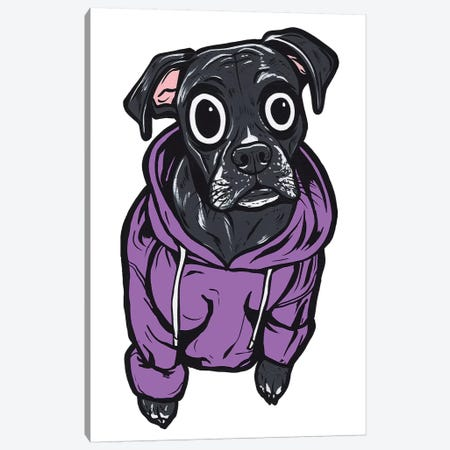 Black Lab Hoodie Canvas Print #AGU99} by Allyson Gutchell Canvas Artwork