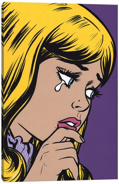 Blonde Bangs Sad Girl Canvas Art Print