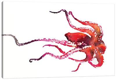 Red Octopus Canvas Art Print