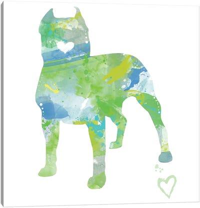 American Pit Bull Terrier Silhouette Canvas Art Print