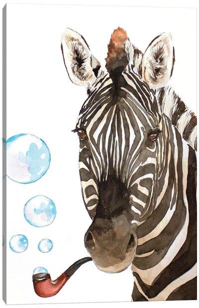 Bubble Pipe Zebra Canvas Art Print