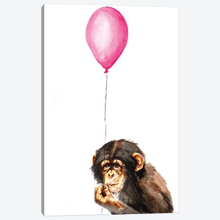 Chimpanzee With Balloon Canvas Print #AGY28} by Allison Gray Art Print