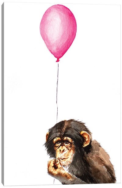 Chimpanzee With Balloon Canvas Art Print
