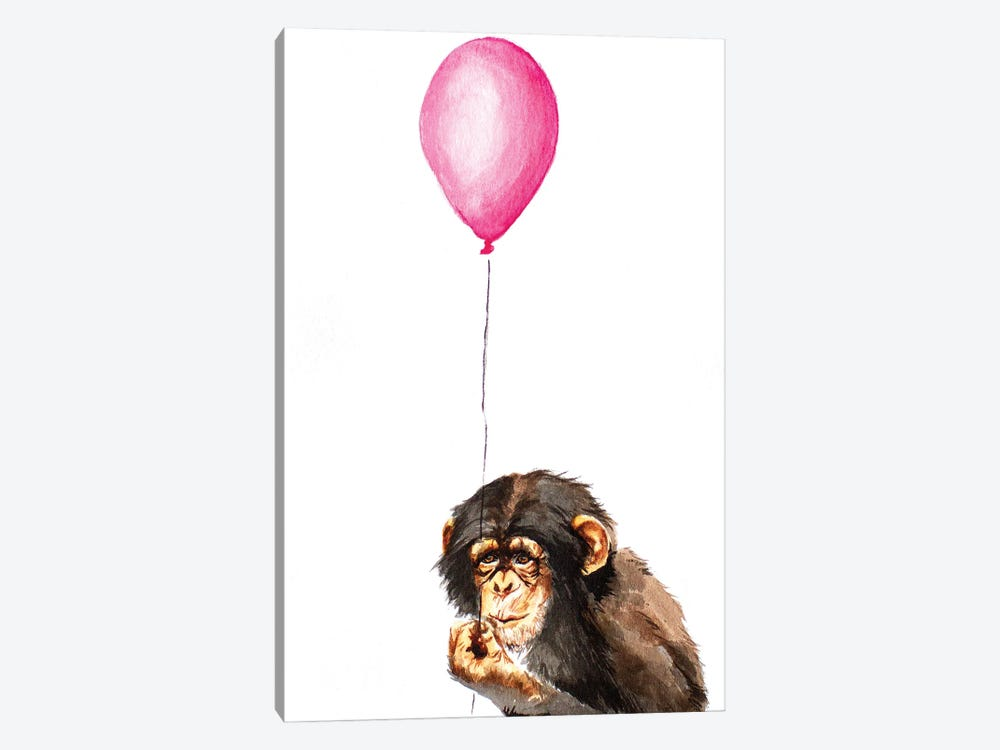 Chimpanzee With Balloon by Allison Gray 1-piece Canvas Art Print