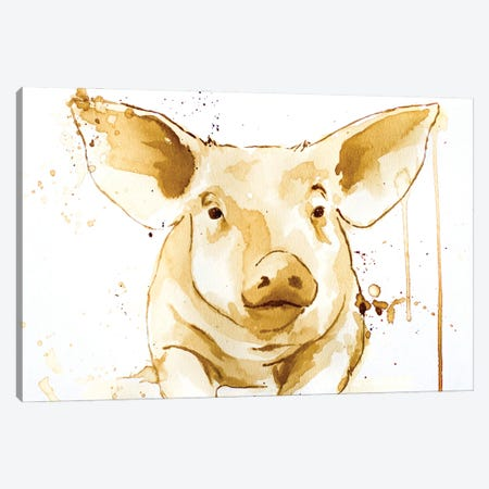 Coffee Pig Canvas Print #AGY32} by Allison Gray Canvas Art