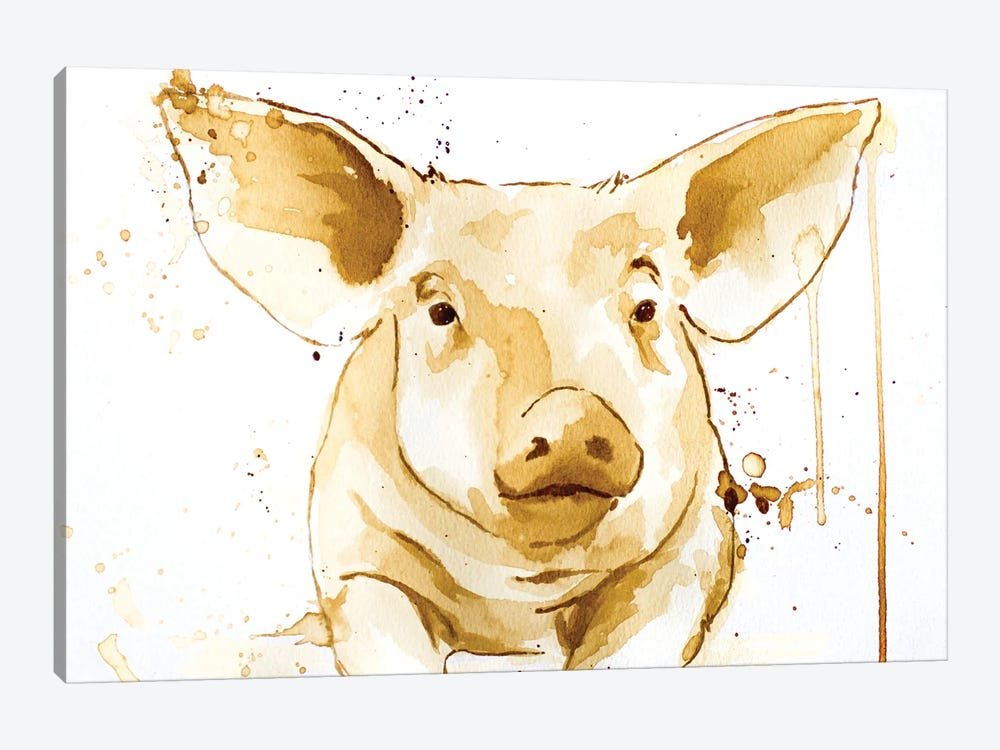 Coffee Pig by Allison Gray 1-piece Canvas Artwork