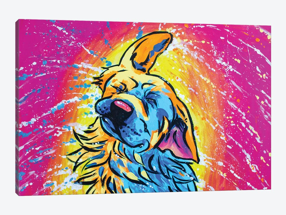 Colorful Shaking Golden Retriever by Allison Gray 1-piece Canvas Artwork