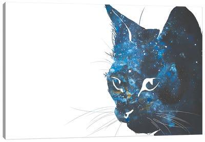 Cosmic Cat Head Silhouette Canvas Art Print