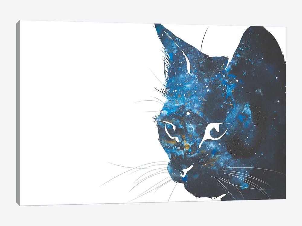 Cosmic Cat Head Silhouette by Allison Gray 1-piece Canvas Wall Art