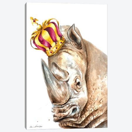 Crowned Rhino Canvas Print #AGY45} by Allison Gray Canvas Art