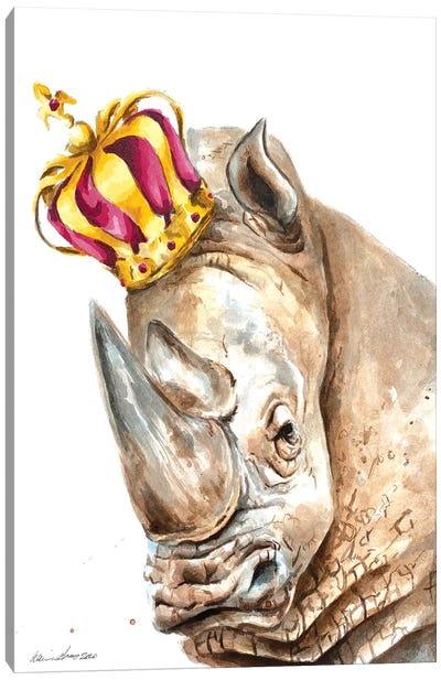 Crowned Rhino Canvas Art Print