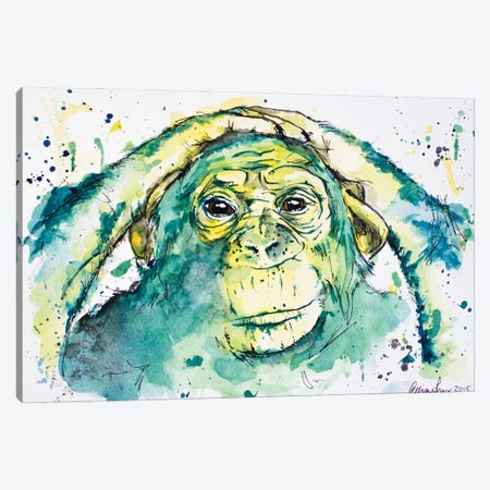 Green Chimp Canvas Print #AGY65} by Allison Gray Canvas Artwork