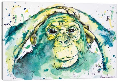 Green Chimp Canvas Art Print