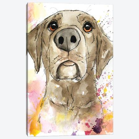 Berry Splashes Chocolate Lab Canvas Print #AGY6} by Allison Gray Canvas Art